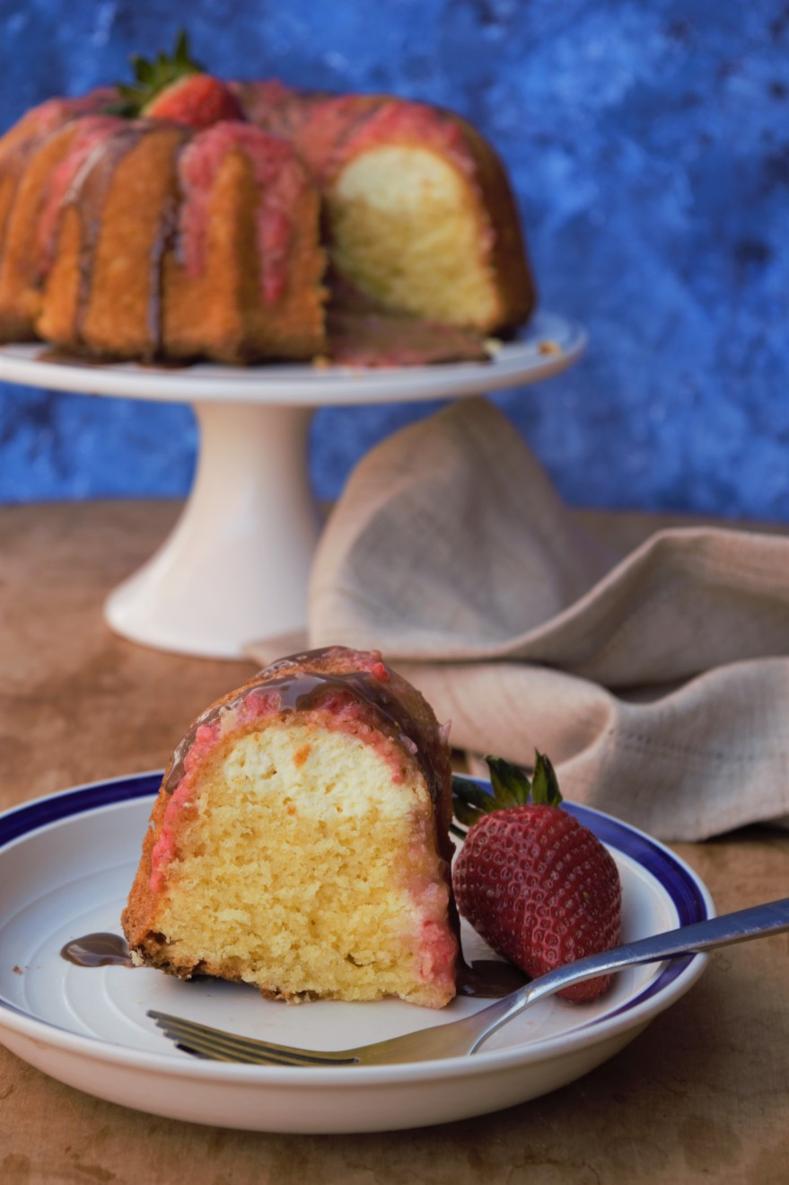 This box mix cake could not be easier. Just prepare the cake batter, add the cream cheese, and bake! People will think you spent hours on it!