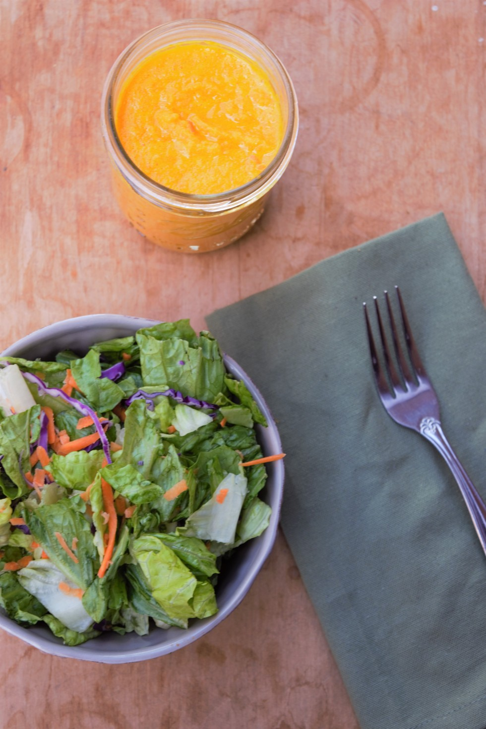 Do you like the ginger dressing at Asian restaurants, but want to make it healthier? This dressing has three superfoods and is guilt free!